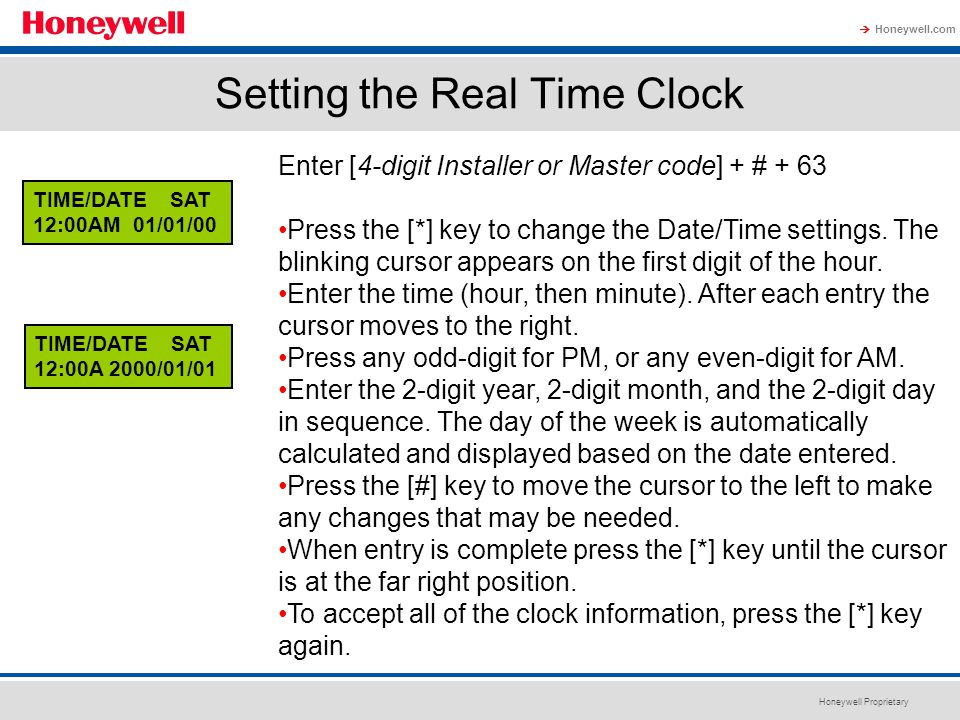 Setting the Real Time Clock
