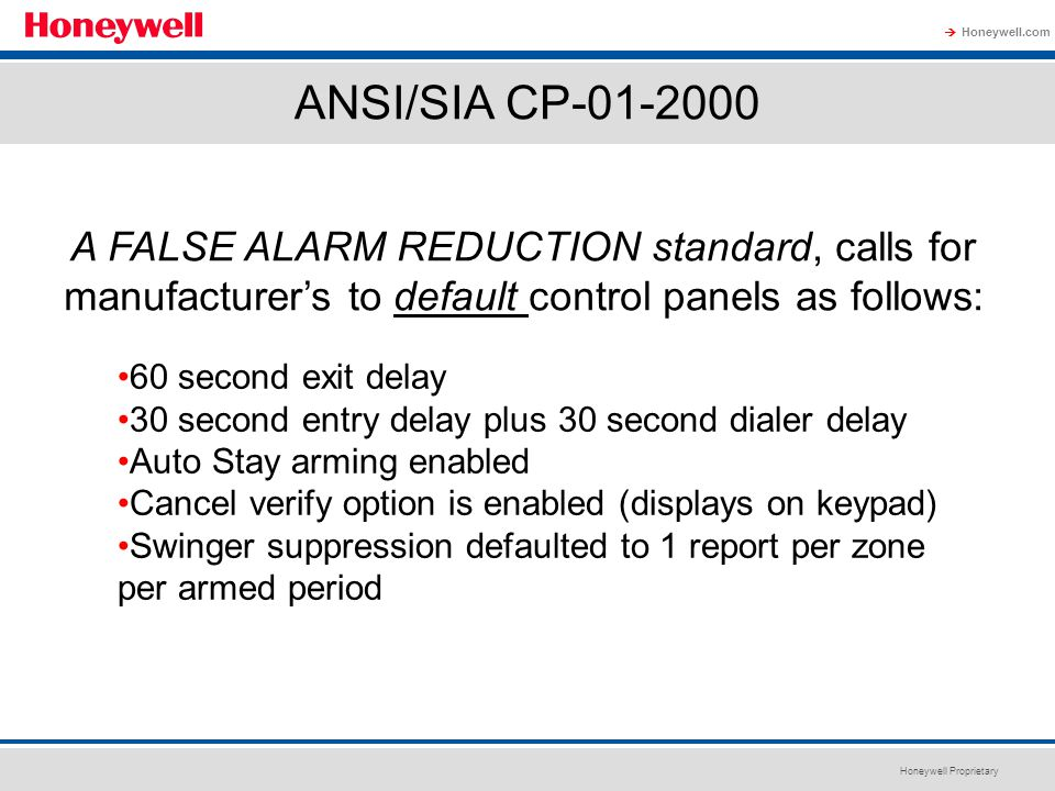 ANSI/SIA CP-01-2000 A FALSE ALARM REDUCTION standard, calls for manufacturer's to default control panels as follows: