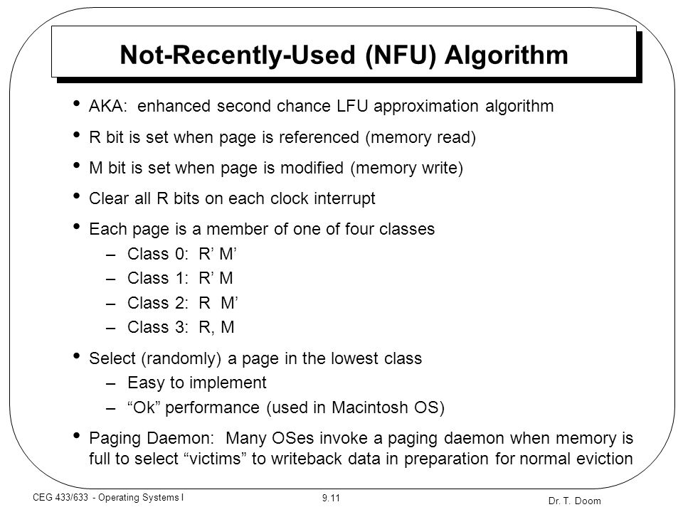 Not-Recently-Used (NFU) Algorithm