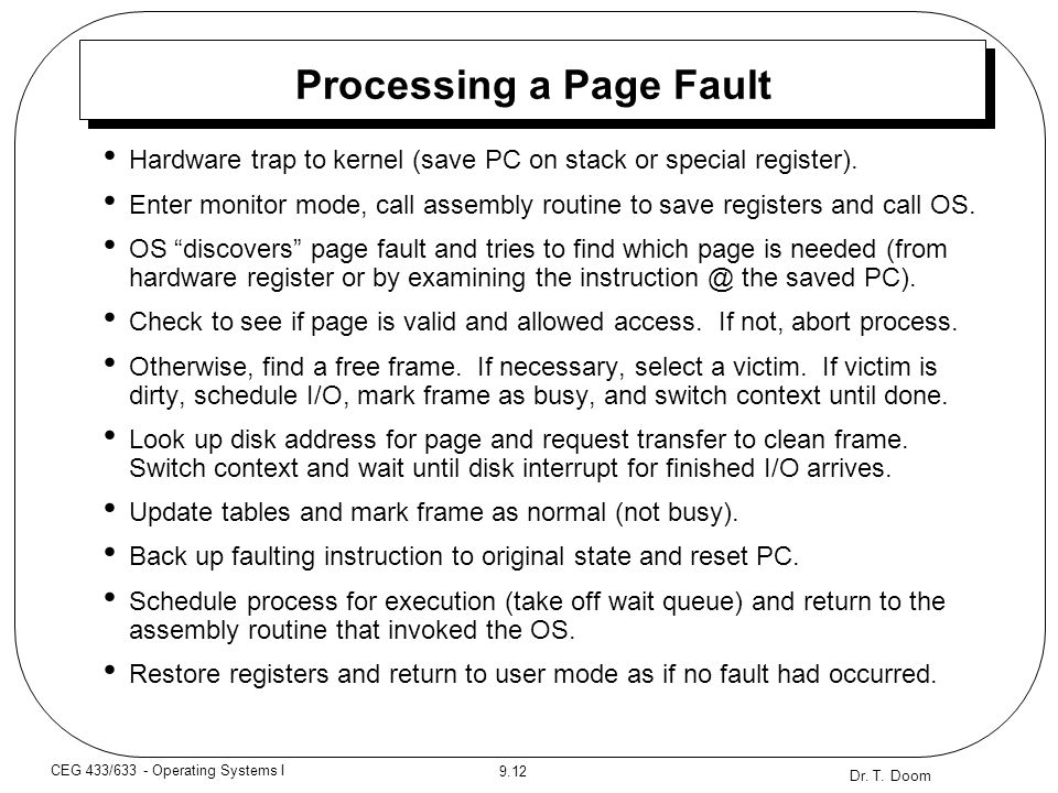 Processing a Page Fault