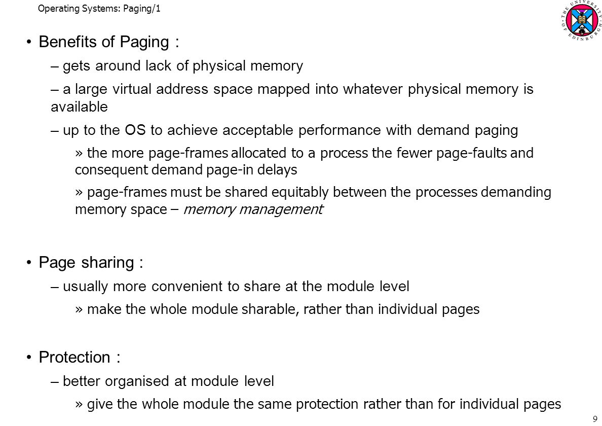 Operating Systems: Paging/1