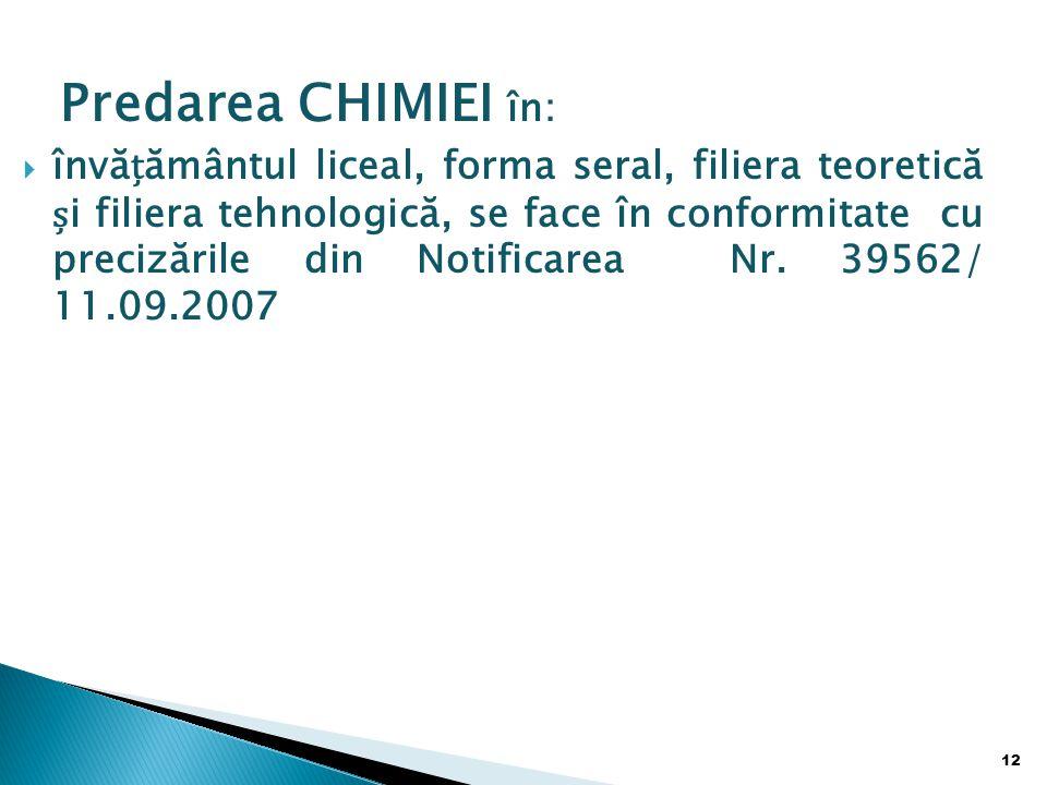 Predarea CHIMIEI în: