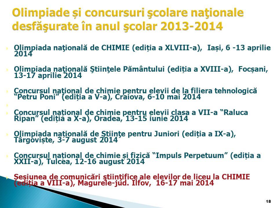 Olimpiade și concursuri şcolare naţionale desfăşurate în anul şcolar 2013-2014