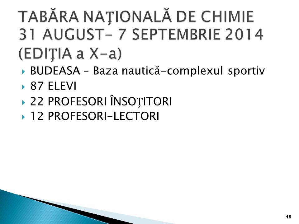 TABĂRA NAȚIONALĂ DE CHIMIE 31 AUGUST- 7 SEPTEMBRIE 2014 (EDIȚIA a X-a)