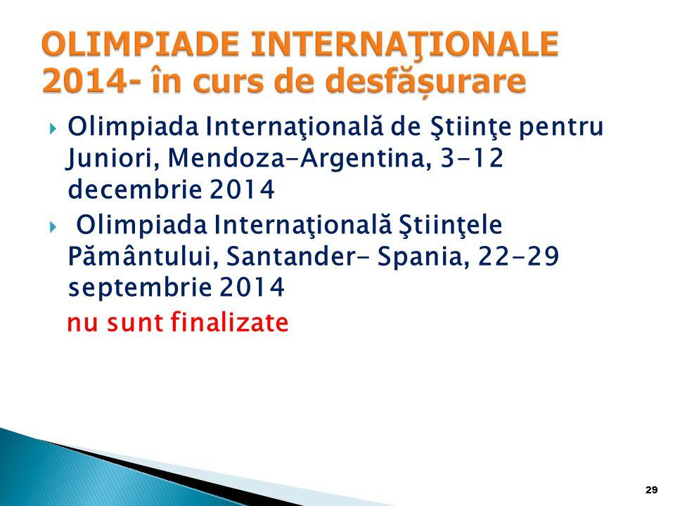 OLIMPIADE INTERNAŢIONALE 2014- în curs de desfășurare
