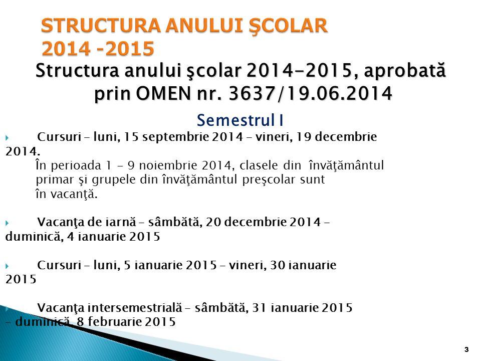 STRUCTURA ANULUI ŞCOLAR 2014 -2015