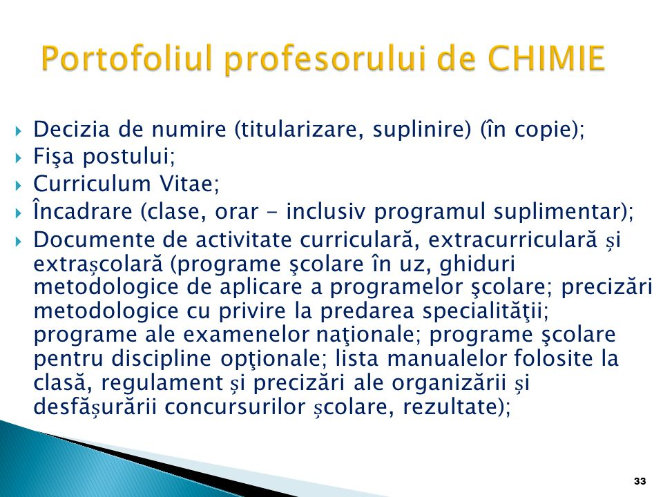 Portofoliul profesorului de CHIMIE
