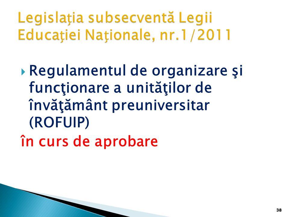 Legislația subsecventă Legii Educației Naționale, nr.1/2011