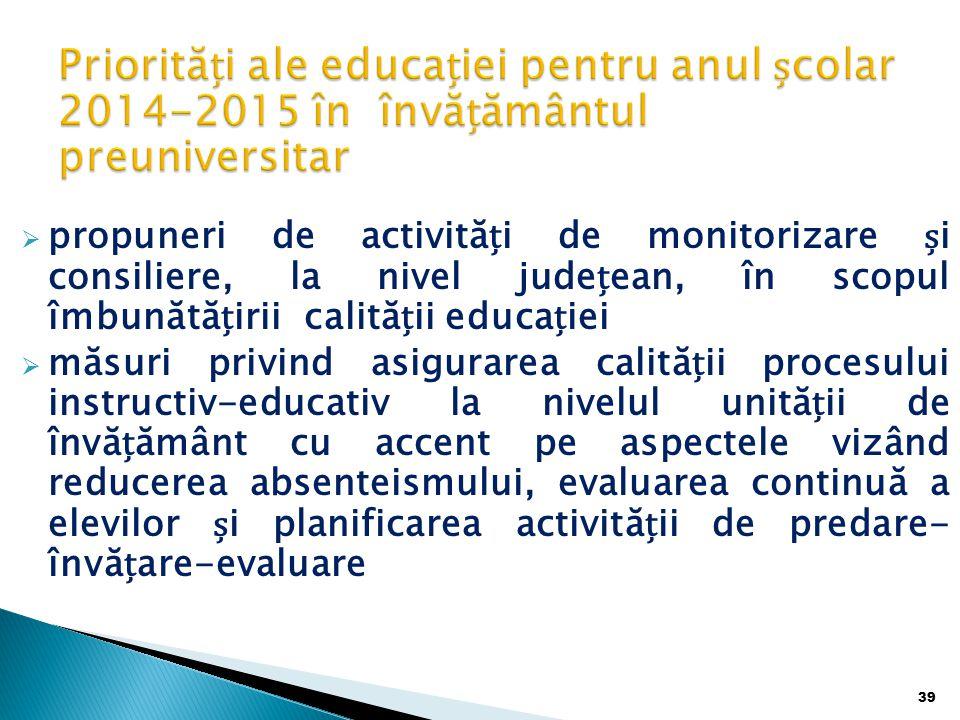 Priorități ale educației pentru anul școlar 2014-2015 în învățământul preuniversitar