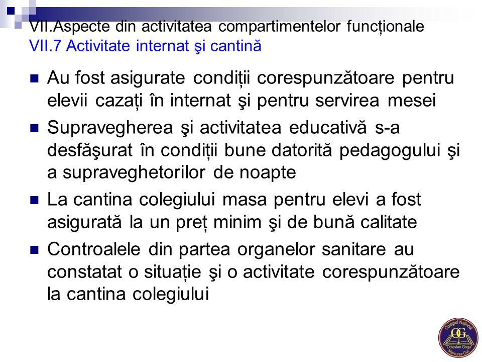 VII. Aspecte din activitatea compartimentelor funcţionale VII