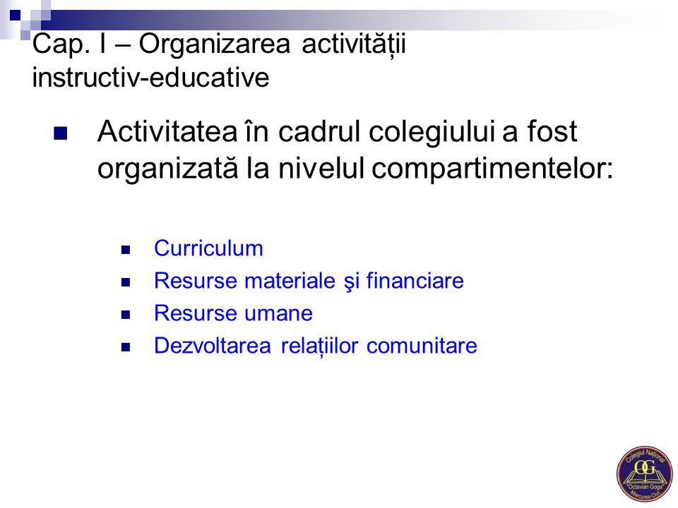 Cap. I – Organizarea activităţii instructiv-educative