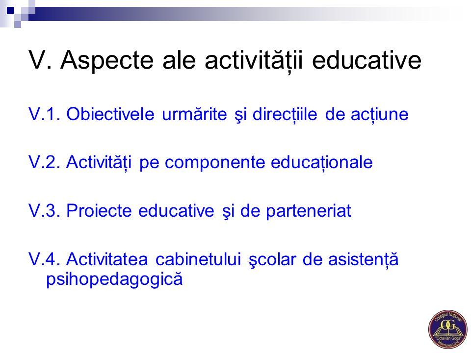 V. Aspecte ale activităţii educative