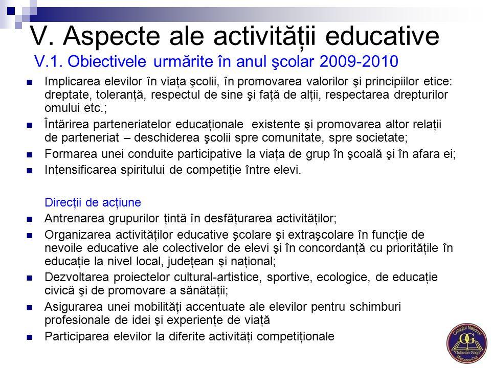V. Aspecte ale activităţii educative V. 1
