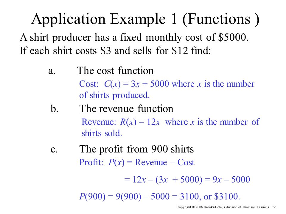 Application Example 1 (Functions )