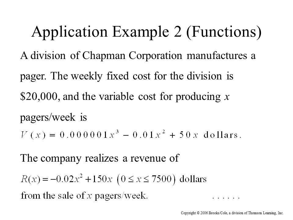 Application Example 2 (Functions)