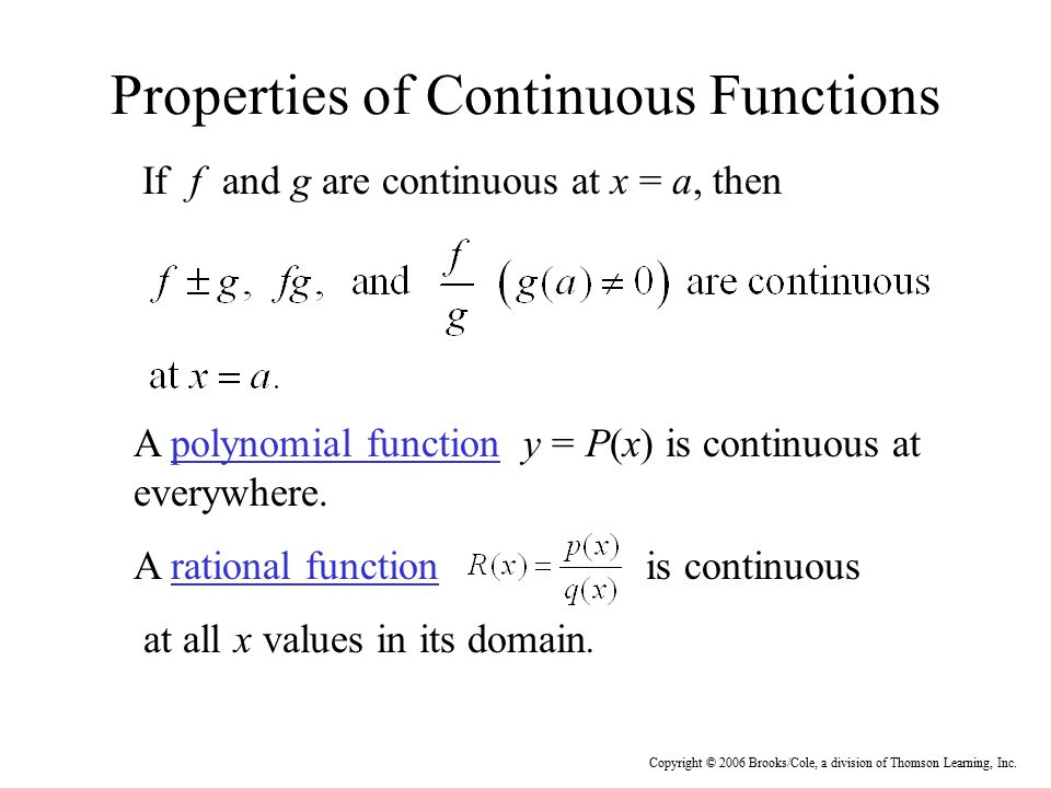 Properties of Continuous Functions