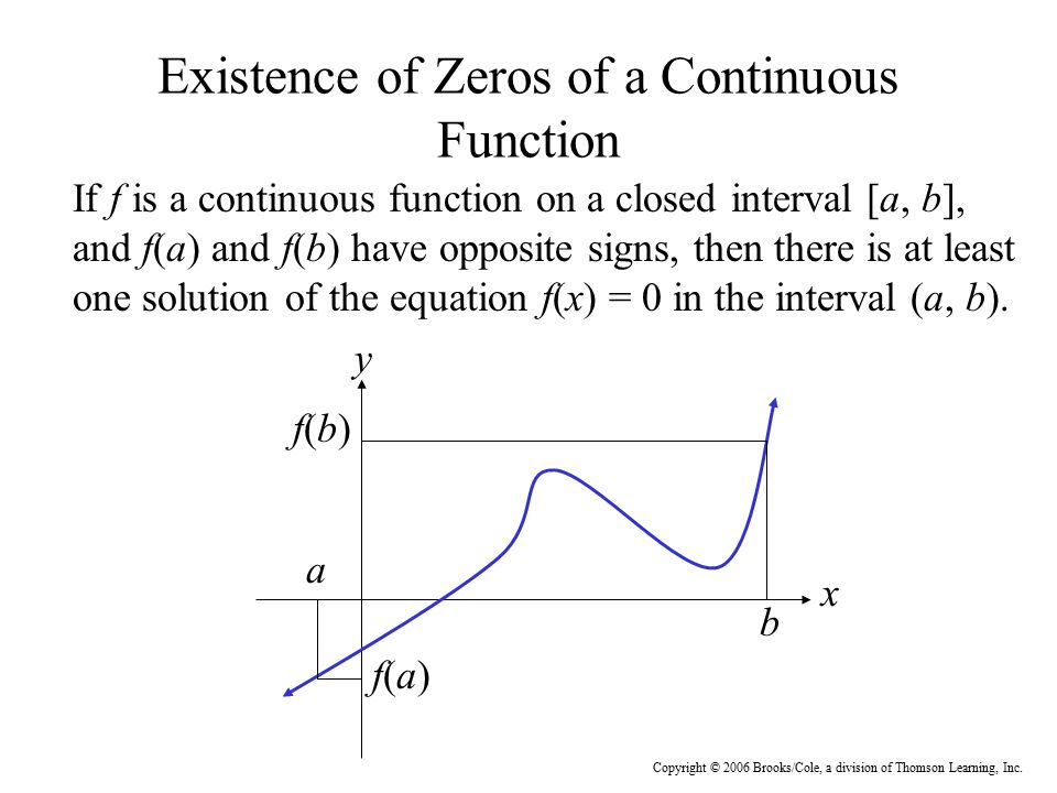 Existence of Zeros of a Continuous Function