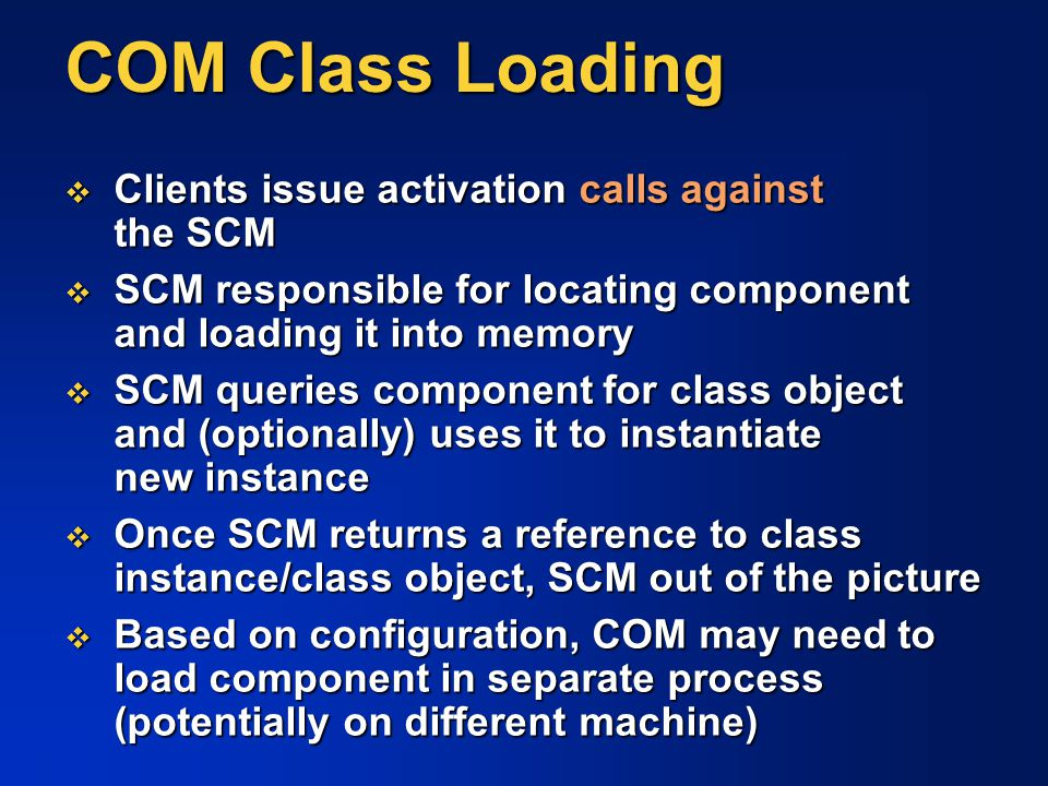 COM Class Loading Clients issue activation calls against the SCM
