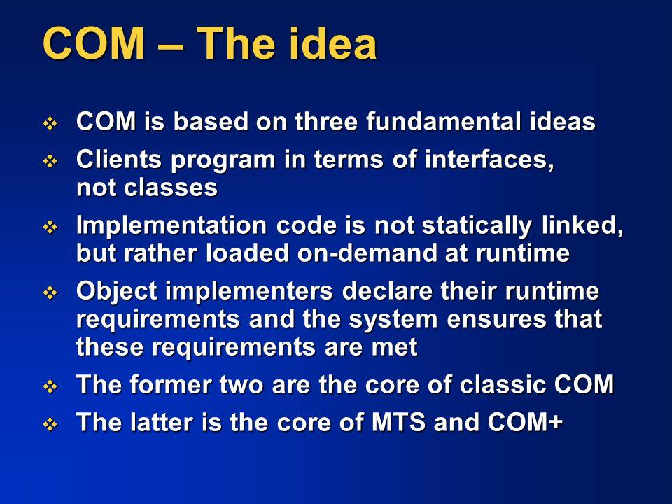 COM – The idea COM is based on three fundamental ideas