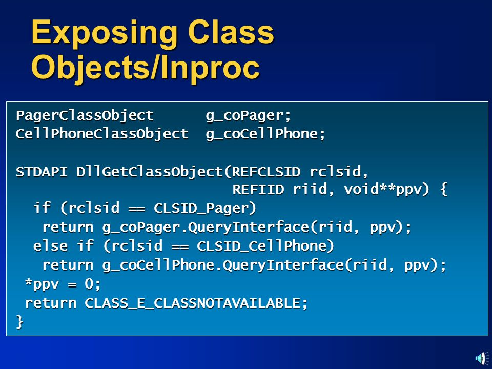 Exposing Class Objects/Inproc