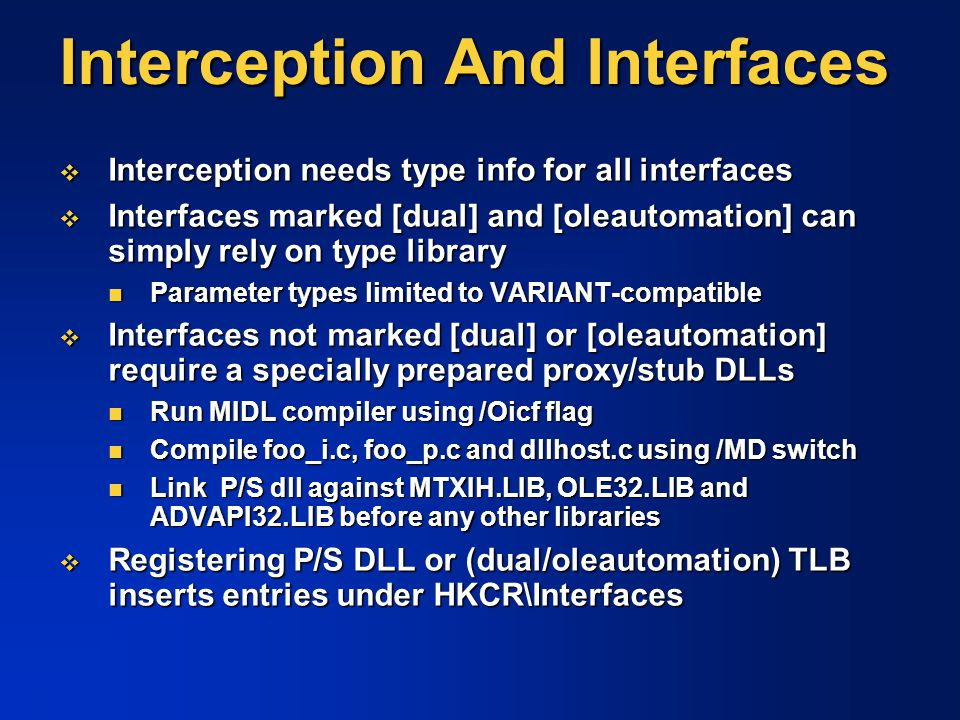 Interception And Interfaces