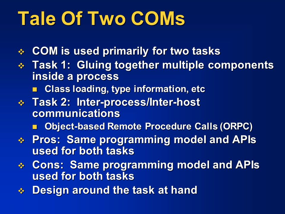 Tale Of Two COMs COM is used primarily for two tasks