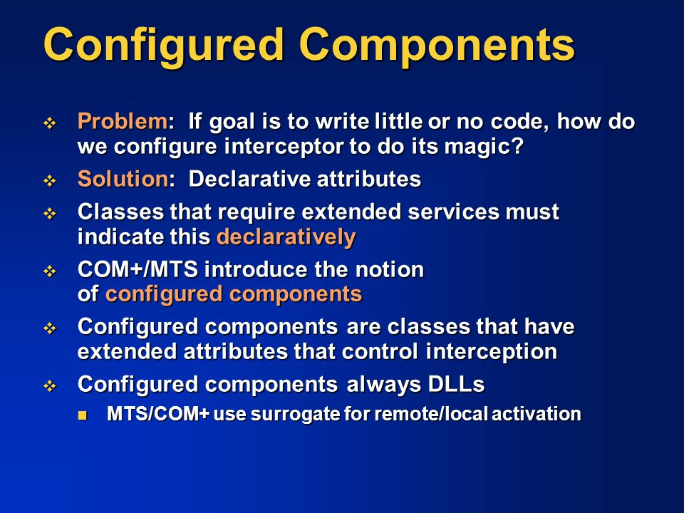 Configured Components