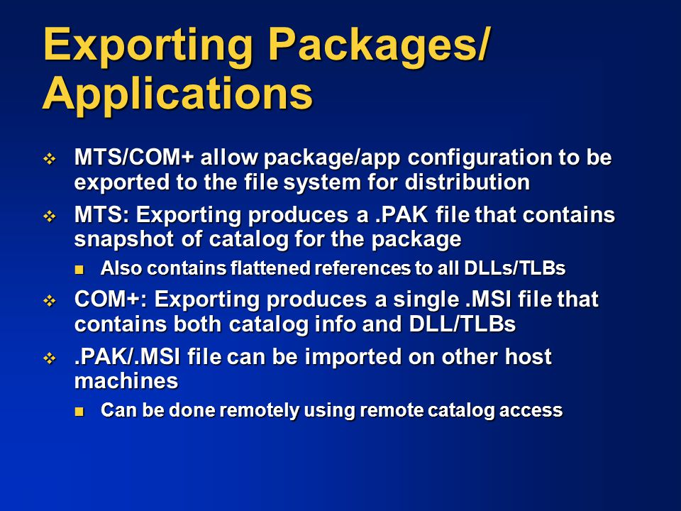 Exporting Packages/ Applications