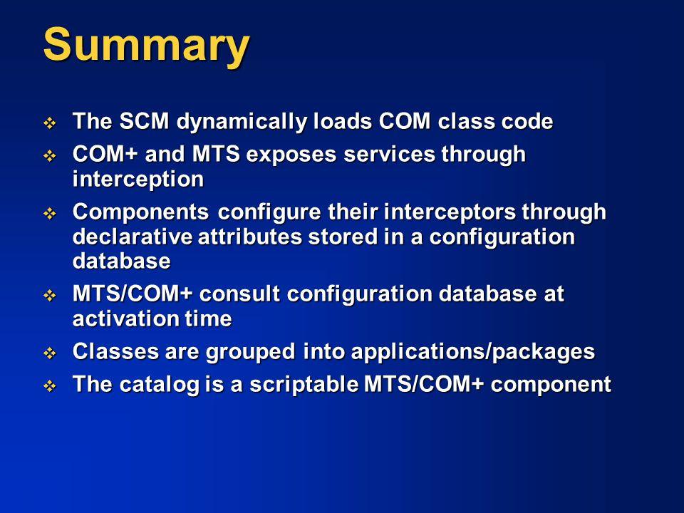 Summary The SCM dynamically loads COM class code