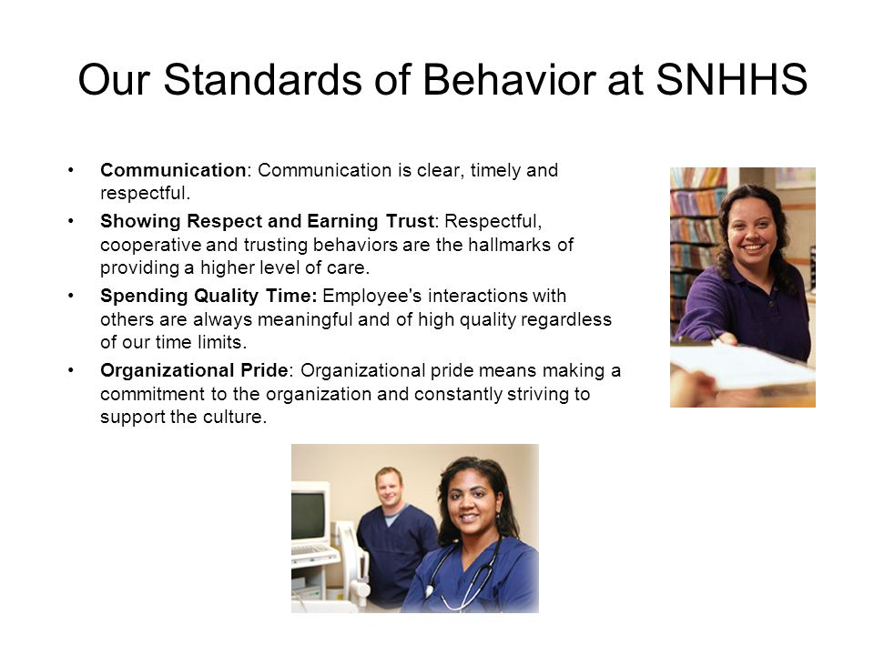 Our Standards of Behavior at SNHHS