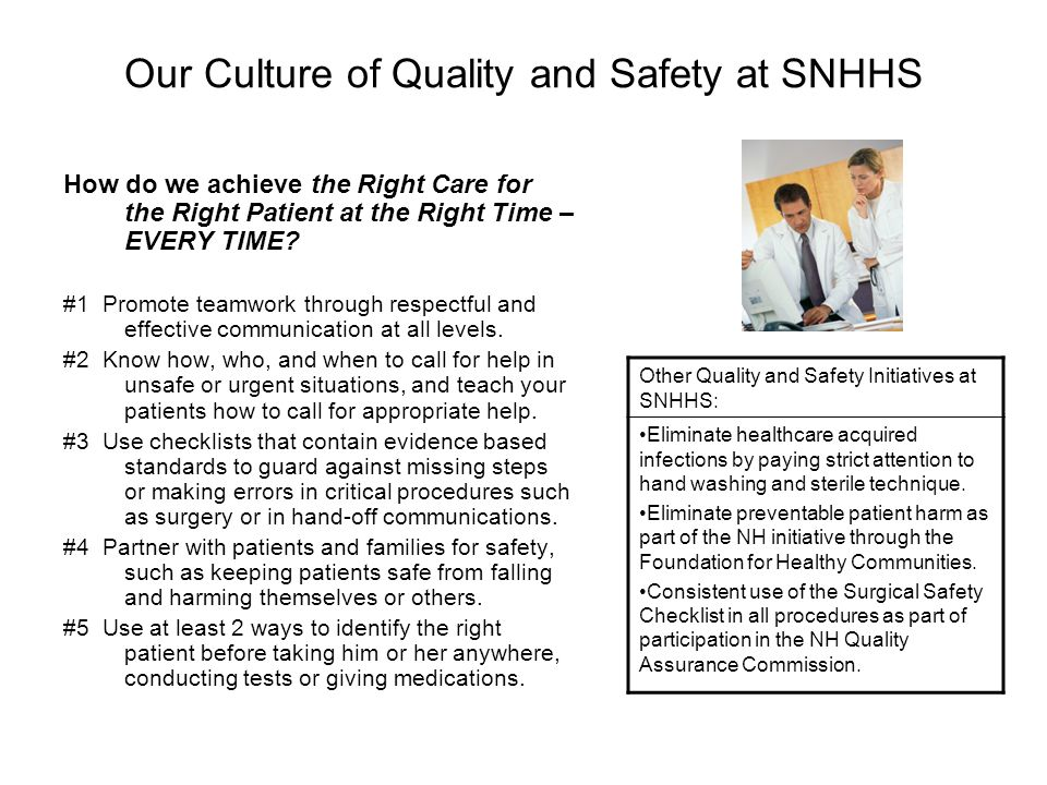 Our Culture of Quality and Safety at SNHHS