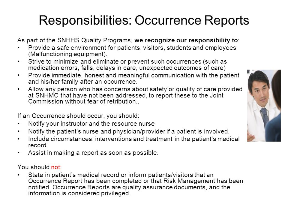 Responsibilities: Occurrence Reports