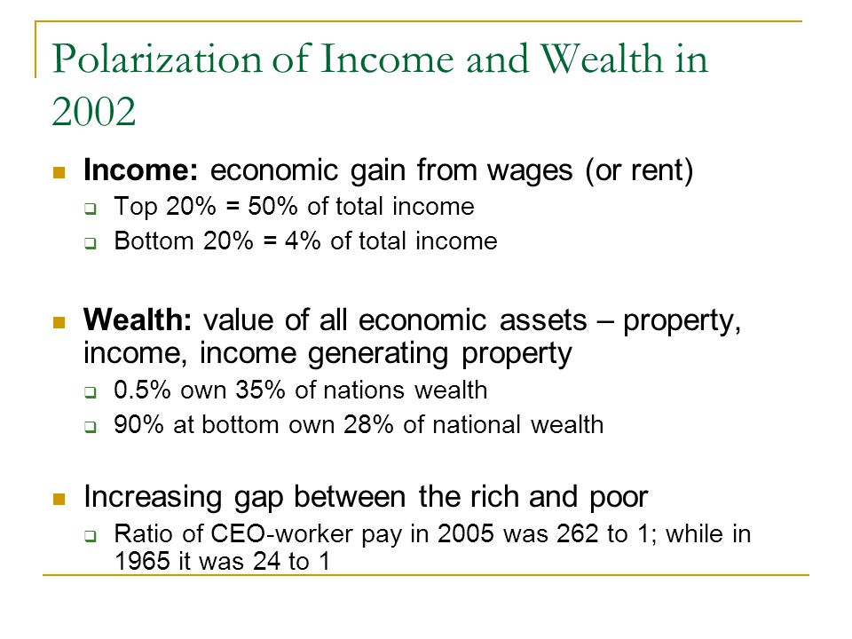 Polarization of Income and Wealth in 2002