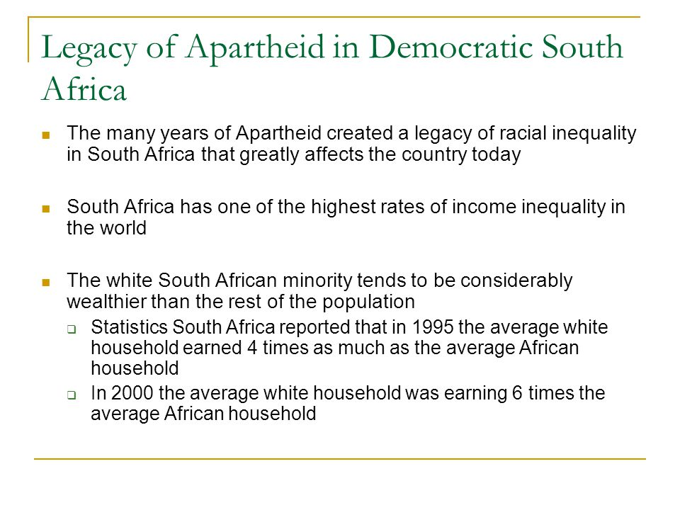 Legacy of Apartheid in Democratic South Africa