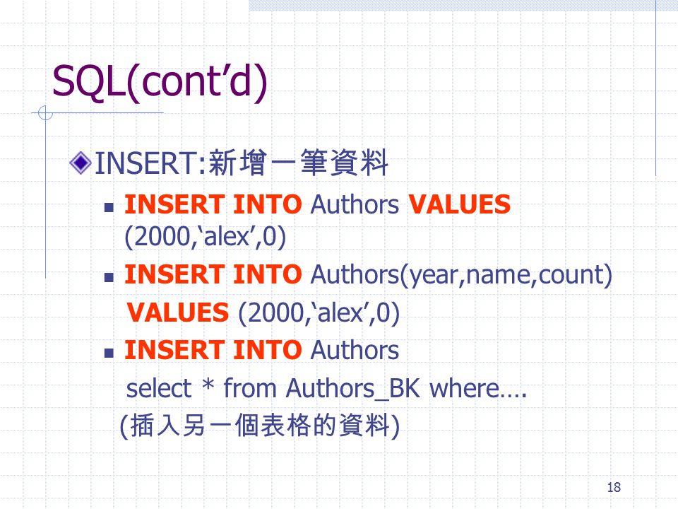 SQL(cont'd) INSERT:新增一筆資料 INSERT INTO Authors VALUES (2000,'alex',0)