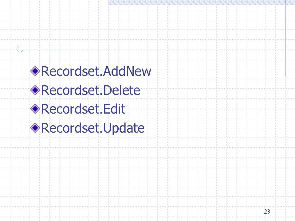 Recordset.AddNew Recordset.Delete Recordset.Edit Recordset.Update