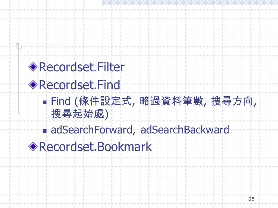 Recordset.Filter Recordset.Find Recordset.Bookmark
