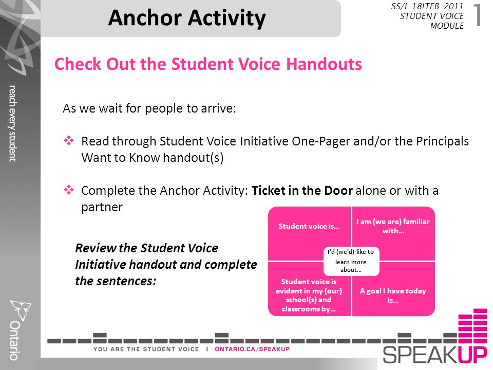 Anchor Activity Check Out the Student Voice Handouts