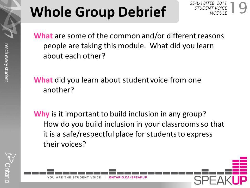 Whole Group Debrief SS/L-18ITEB 2011 STUDENT VOICE MODULE.