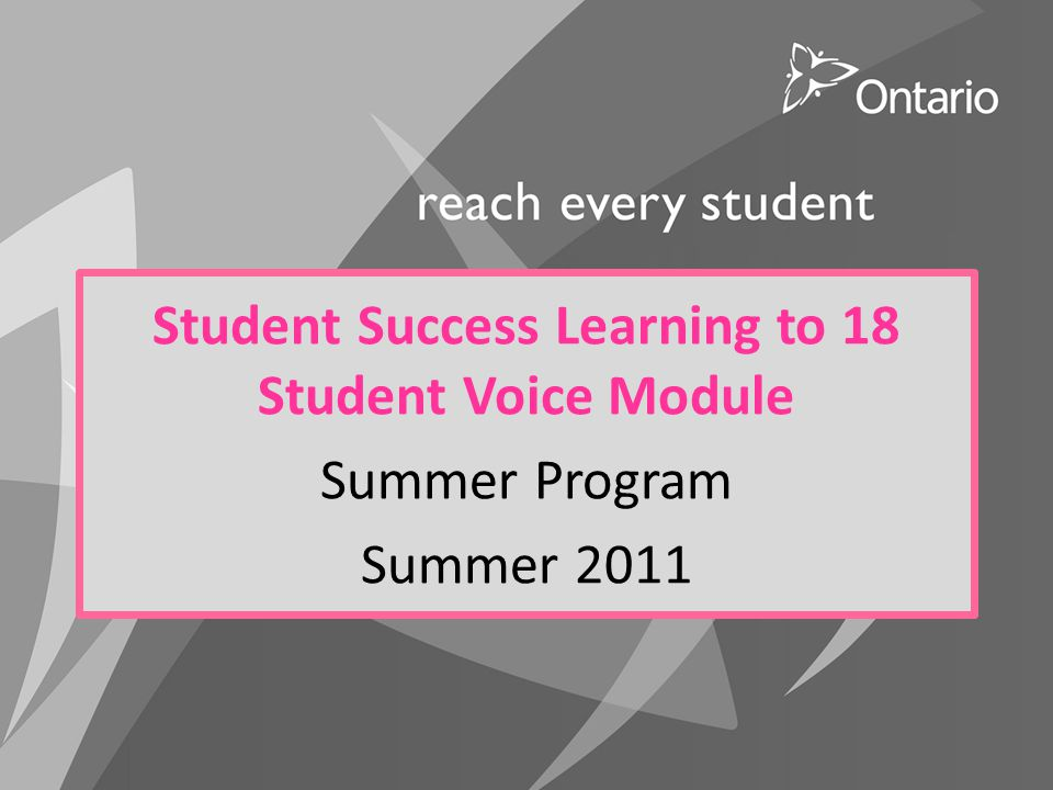 Student Success Learning to 18 Student Voice Module