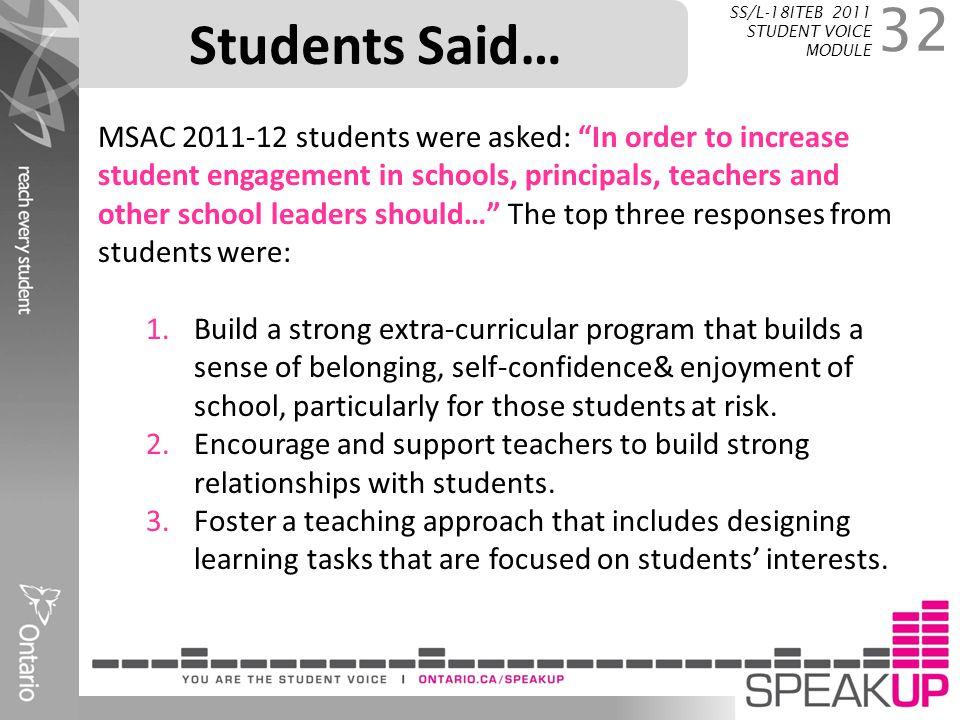 Students Said… SS/L-18ITEB 2011 STUDENT VOICE MODULE.