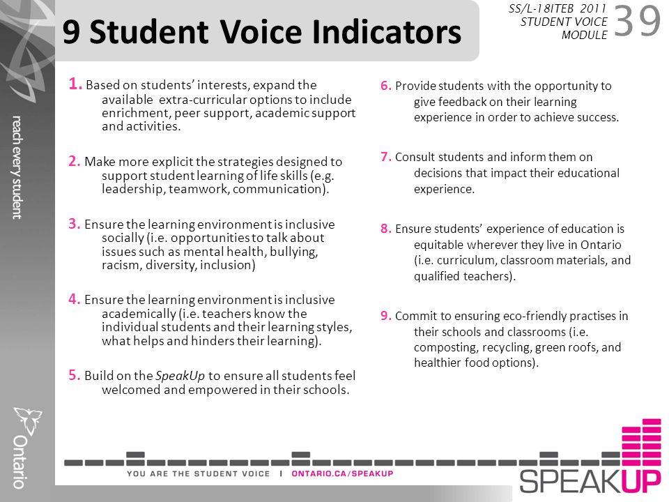 9 Student Voice Indicators