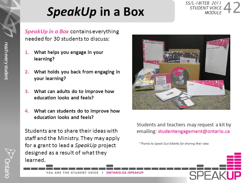SpeakUp in a Box SS/L-18ITEB 2011 STUDENT VOICE MODULE. SpeakUp in a Box contains everything needed for 30 students to discuss: