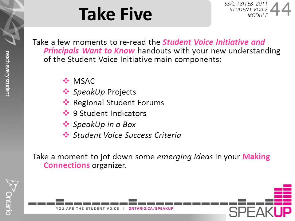 Take Five SS/L-18ITEB 2011 STUDENT VOICE MODULE.