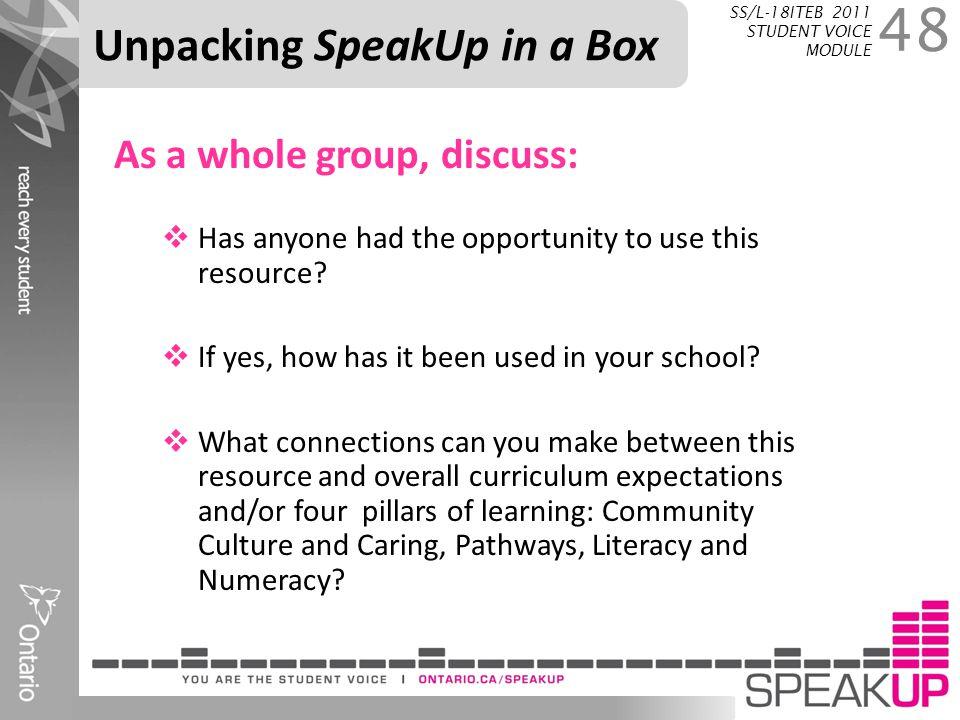 Unpacking SpeakUp in a Box