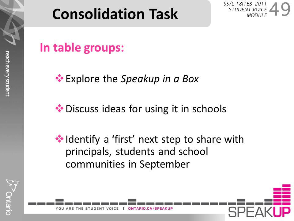 Consolidation Task In table groups: Explore the Speakup in a Box