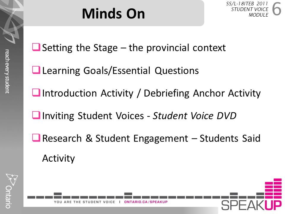 Minds On Setting the Stage – the provincial context