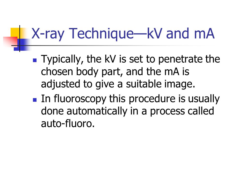 X-ray Technique—kV and mA
