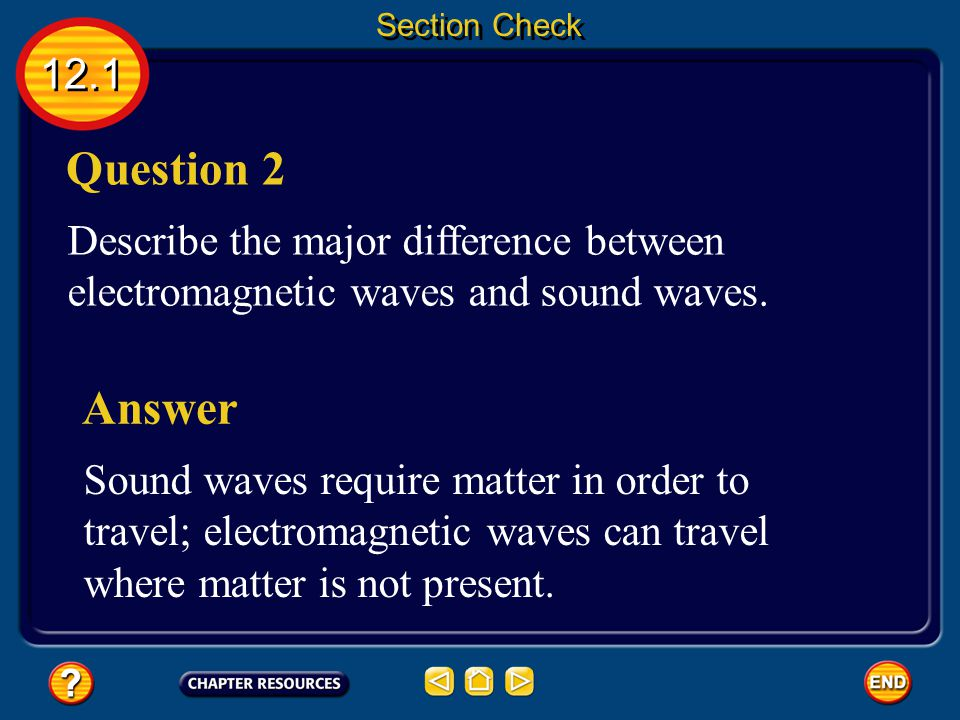 Section Check 12.1. Question 2. Describe the major difference between electromagnetic waves and sound waves.