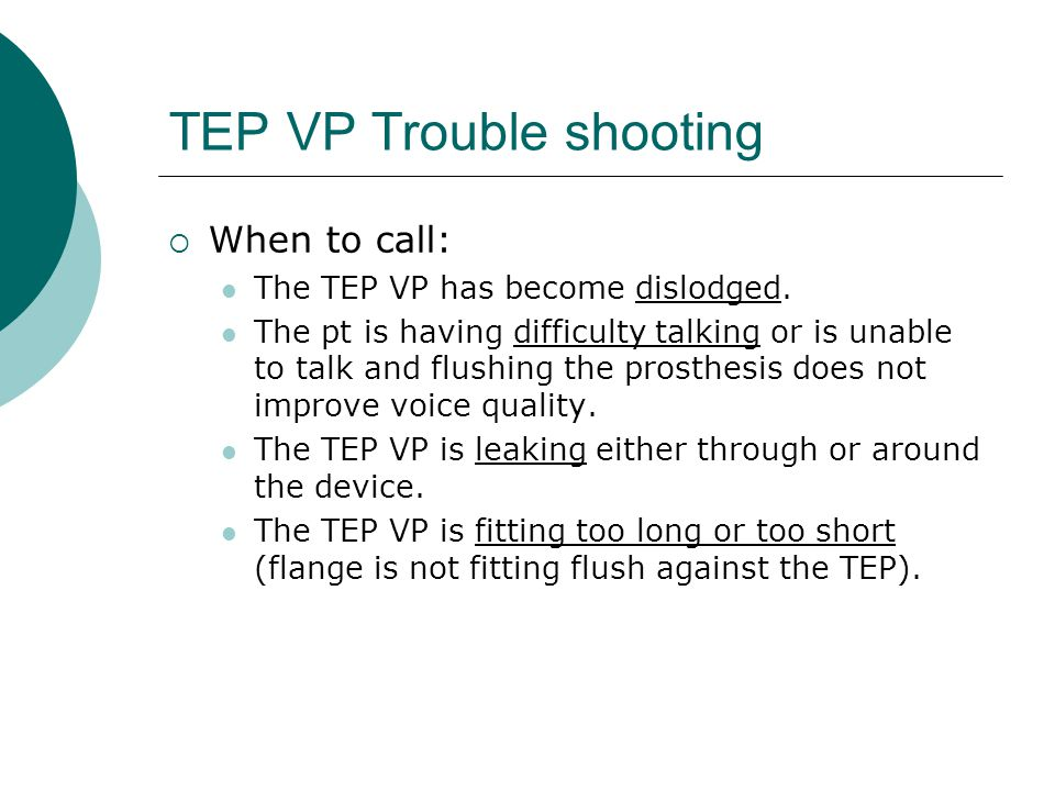 TEP VP Trouble shooting